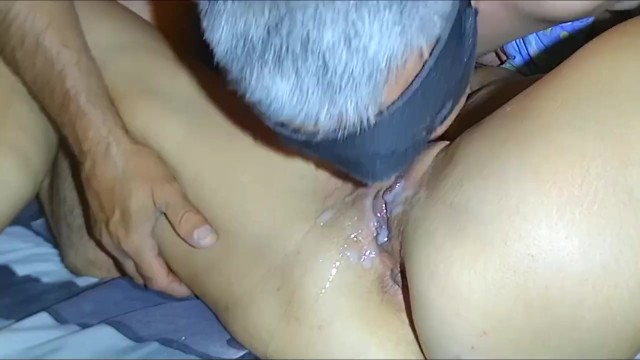 Eating my own cum from her My husband went crazy. he eats his own cum from my pussy.