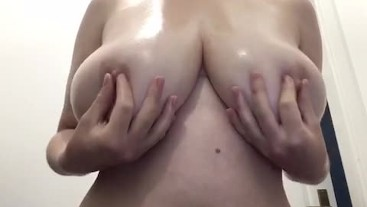 Oiling up my 32F titties