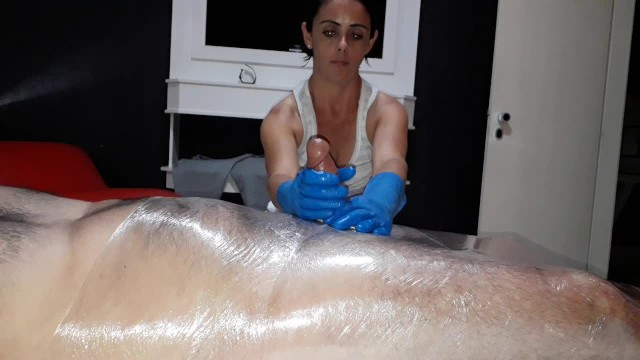Hand fetish tube Julia gloves handjob tied slave