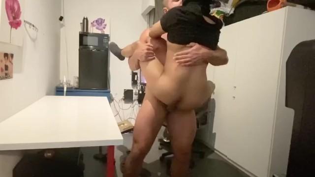 Bareback asian gay Persian daddy sharok fucks his boy in the break room
