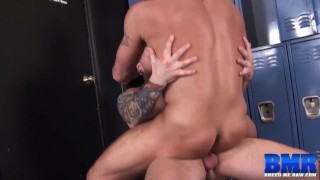 BREEDMERAW Hugh Hunter Bottoms For Big Cock In Locker Room
