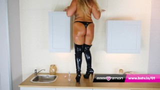 Baby oil and thigh high boots with Beth at Babestation
