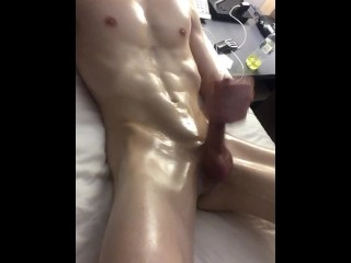 Oiled twink needs to cum semi facial...