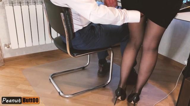 Handjobs by the secretary Teaser sedducting secretary: ass fingering, sex, handjob, cum in pantyhose