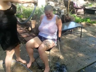 BDSM Slave Punished By Castratta, Her Head is Shaved and She Accumulates the Hose