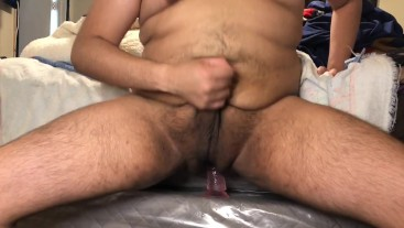 Small dick chub fucks bed and rides dildo until he cums