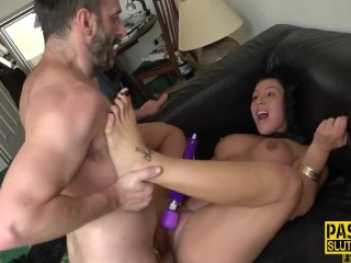 Throating submissive toys as she gets fucked