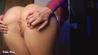 Close up view on my big ass when i sucking dildo