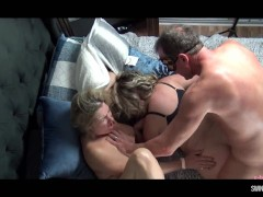 Horny housewives getting their pussy rammed in steamy foursome