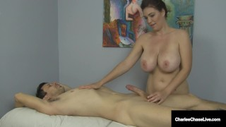 Hot Busty Cougar Charlee Chase Rides Client & Busts His Nut!