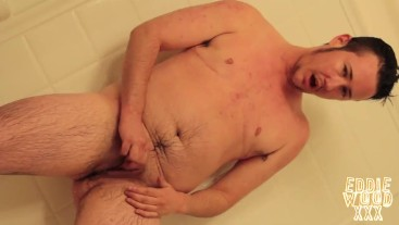 FTM Eddie Wood Jerks Off in the Shower