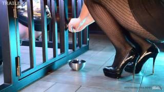 Femdom Mistress feeds slave with her feet trailer