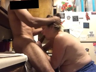 My Girlfriend's Auntie Ate My Dick In Kitchen At Family Reunion. Big Load