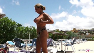 Stranger Voyeur Topless MILF at Pool and Seduce her to Fuck
