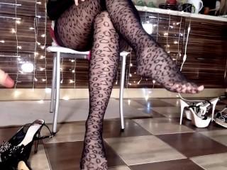 Leopard long legs hotwife...