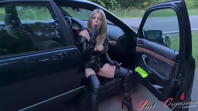 Smoking and fucking sluts Whore slut-orgasma celeste pissing on the street.