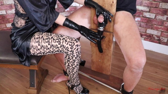 Sukebe chair milking cock Femdom slave hitachi milking cock torture tied to bondage chair