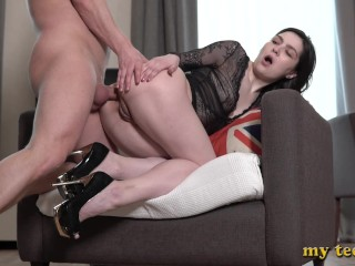 Monica first day in porn immediately fucked in...