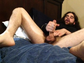 Hairy Young Man Spreads His Legs, Jacking Off and Cums On Himself For You