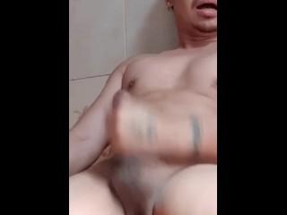 Thai guy masturbate before shower...