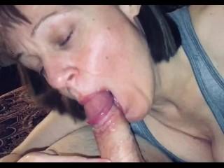 Mature older woman sloppy bj creampie...