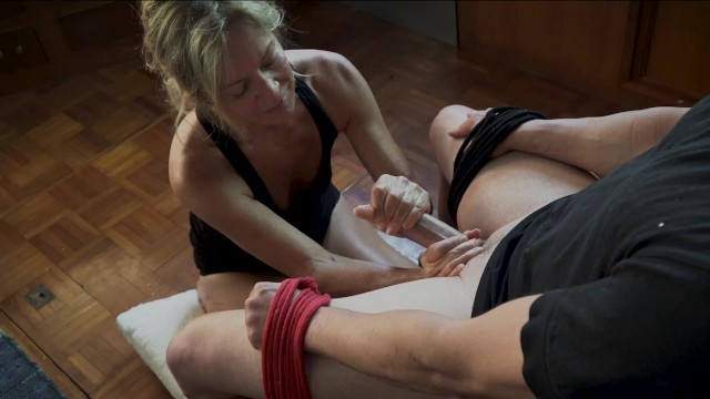 Slow blonde fuck Tied to the chair. i deep throat, edge, facefuck and devour his cum.