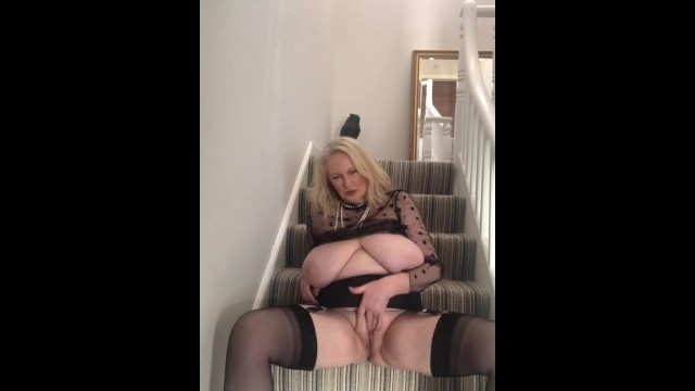 Categorized mature tube Annabels pussy play on the stairs