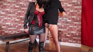 Ballbusting knee kicks & extreme flogging for chastity cage slave