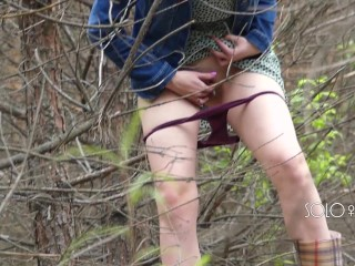 Peeping Tom on teen play with pussy in forest, public masturbation orgasm