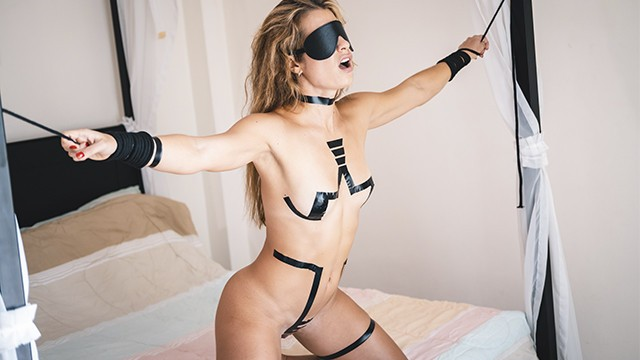 Bondage tape alternative Tied up slave gets slapped punished hard then fucked rough by her master
