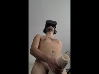 Fleshlight and a glass dildo while watching VR porn
