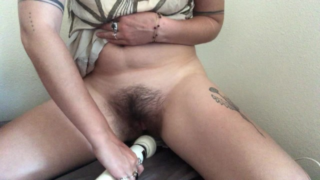 Vintage mustang coupe to convertible Hairy masturbation session with hitachi dildo in vintage dress