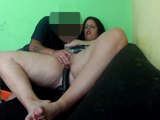 Friend of my husband catch me masturbating on webcam show and help me cum