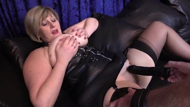 Stockings suspenders sex free Nasty british mature with huge tits, has her wet pussy pounded with dildo