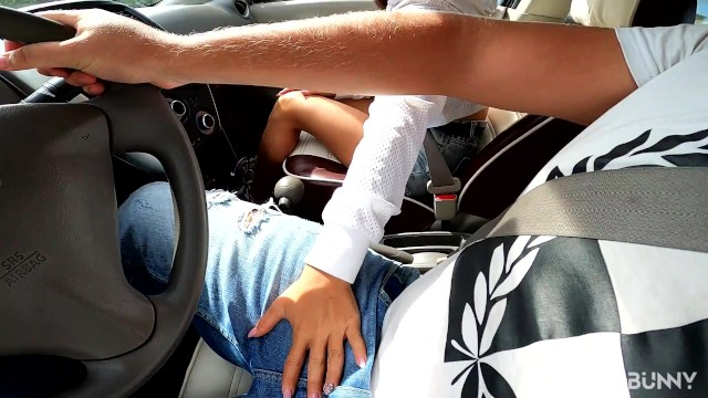 She cant wait  Fast blowjob in car with hot teeny 13