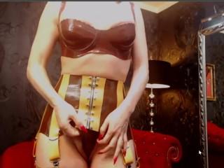 Latex lingerie tease