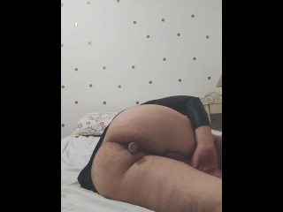 MASKED STRAIGHT SLAVE GETS CROSSDRESSED AND MOANS HARD WITH SEX TOY