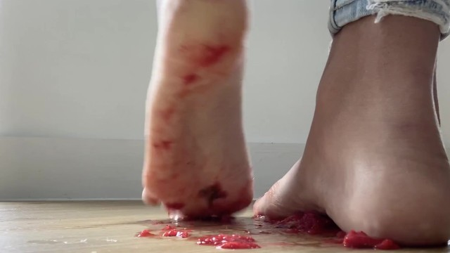 Girl crushes strawberries with her toes  Food Porn 8