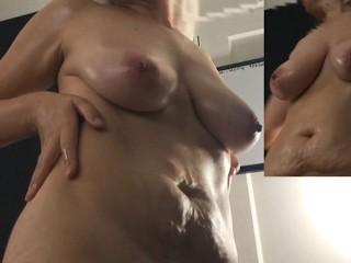 Milf puts lotion nice big saggy tits areolas...