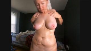 MILF lotions her nice BIG saggy Tits areolas nipples
