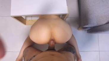 Horny Chinese Teen gets Creampie by Neighbour who fixes the table