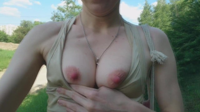Breast cancer walk in toledo Summer boob flash: fit babe showing breasts in the forest
