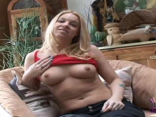 Blonde talks sex fingers her pussy...