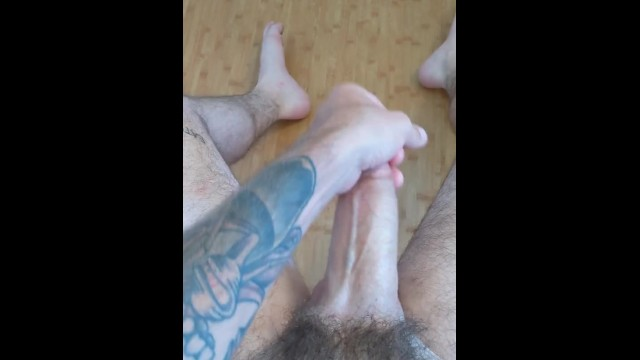 Hairy stud cocks Hung hairy stud stroking thick cock and shooting huge load
