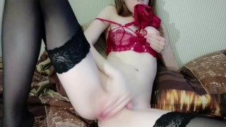 hot slut playing with a vibrator. she asks to be fucked