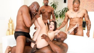 DevilsGangbangs 4 Big Dicks To Destroy This Hot Brunette