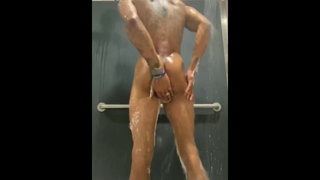 Nude man shower Arquez after gym