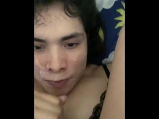 Trailer self facial and swallow cum in quarantine...