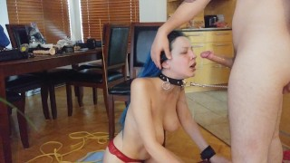 Sloppy Throatfuck and Throatpie After BDSM Session