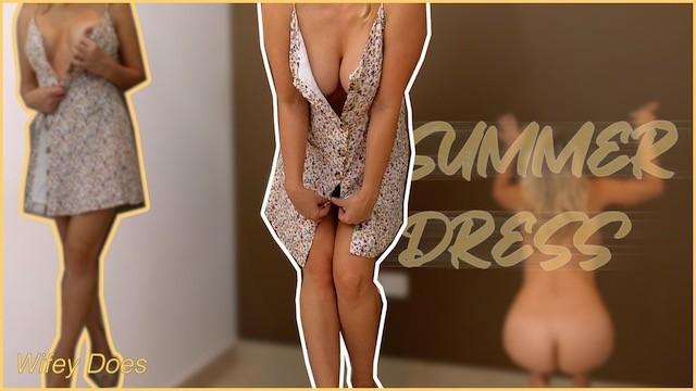 Amateur down blouse Lets get undressed together hot summer dress and heels